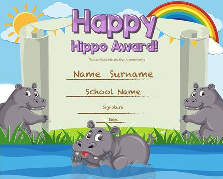 Certificate template for happy hippo award illustration