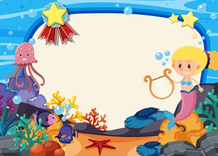 Frame template design with mermaid under the sea illustration Vector Illustratie