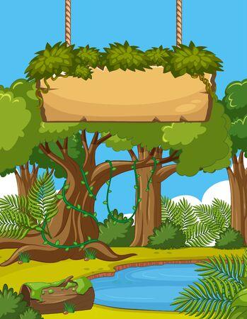 Escena de fondo con muchos árboles y letrero de madera en la ilustración del bosque