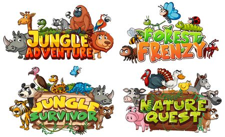 Font design for word related to jungle with wild animals illustration