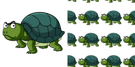 Seamless background design with angry tortoise illustration Vecteurs