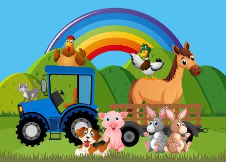 Background scene with farm animals on the farm illustration Illustration