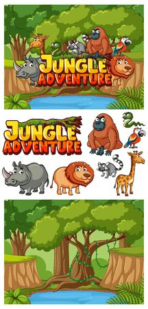Background design for jungle adventure with animals in forest illustration Ilustrace