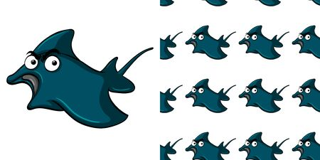 Seamless background design with angry stingray illustration
