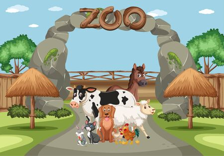 Scene with wild animals in the zoo at day time illustration  イラスト・ベクター素材