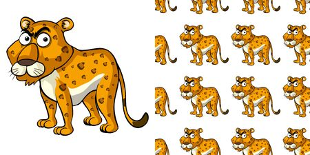 Seamless background design with wild tiger illustration Ilustrace