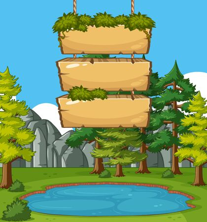 Wooden signs template with many trees in the park background illustration