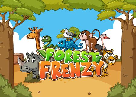 Forest scene with word forest frenzy and wild animals in background illustration