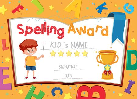 Certificate template for spelling award with boy in the background illustration