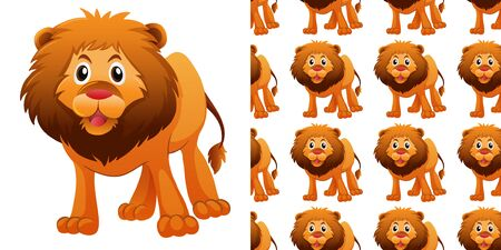 Seamless background design with cute lion illustration