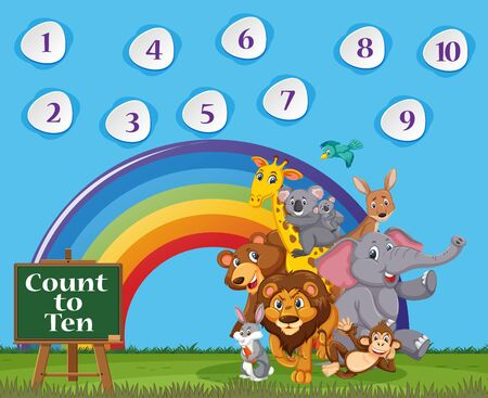 Number one to ten with blue sky and colorful rainbow background illustration