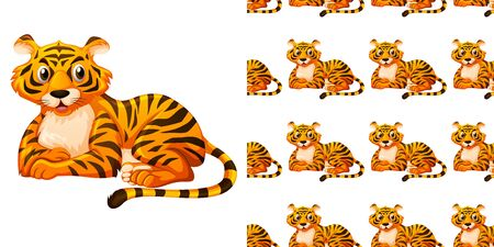 Seamless background design with cute tiger illustration