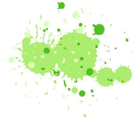 Watercolor splash in green on white background illustration