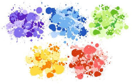 Background design with watercolor splash in five colors on white background illustration