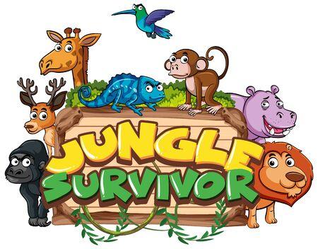 Font design for word jungle survivor with wild animals in background illustration