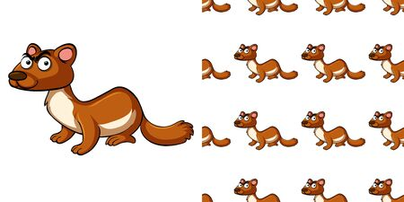 Seamless background design with brown otter illustration