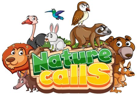 Font design for word nature calls with animals in background illustration