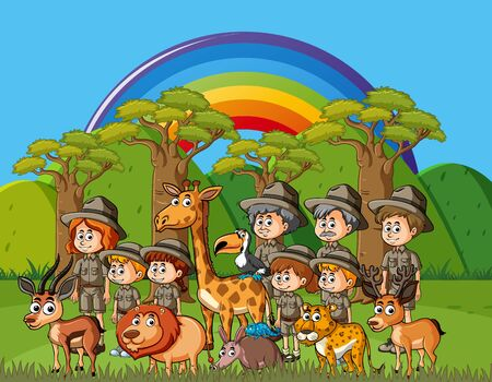Background scene with many park rangers and wild animals illustration Vetores