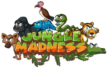 Font design for word jungle madness with wild animals illustration