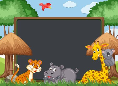 Blackboard template design with wild animals in the zoo illustration