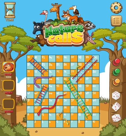 Game template design with trees and animals in background illustration