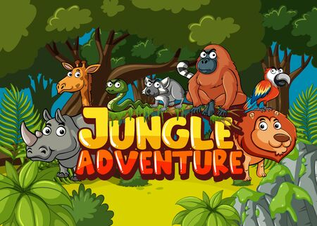 Forest scene with word jungle adventure and wild animals in background illustration Ilustrace