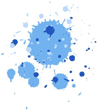 Watercolor splash in blue on white background illustration