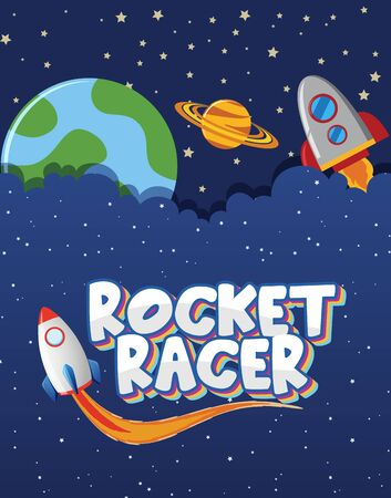 Poster design with spaceships and stars in background illustration