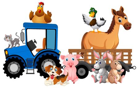 Many farm animals riding tractor on white background illustration Stock Illustratie
