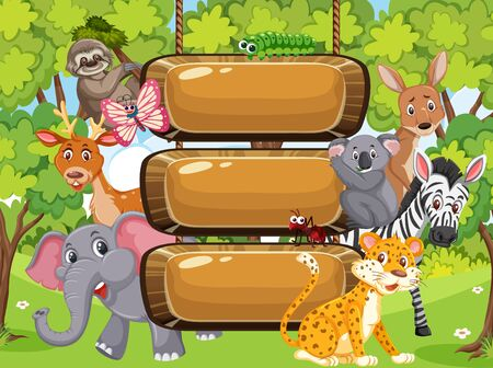 Wooden sign template with wild animals in the park illustration