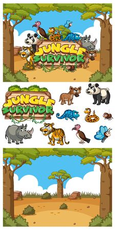 Font design for jungle survivor with many animals in the field illustration Illustration