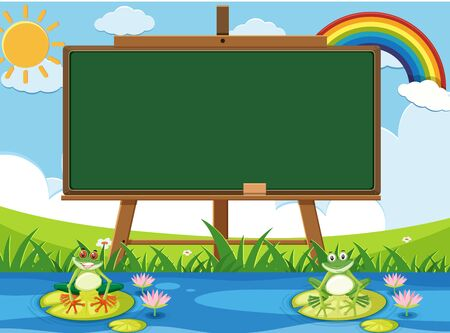 Scene with blank sign and two happy frogs in the pond illustration