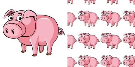 Seamless background design with cute pig illustration