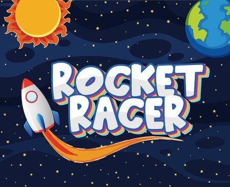 Poster design with rocket racer in the dark universe illustration 向量圖像