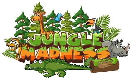Font design for word jungle madness with many wild animals illustration