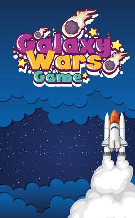 Poster design with spaceship flying in dark space illustration Illustration