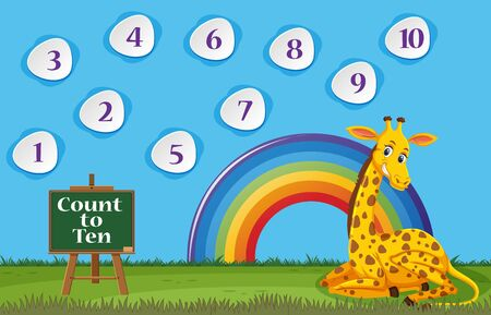Counting number one to ten with giraffe sitting in the field illustration