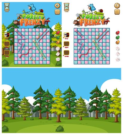 Background design for boardgame with snake and ladder illustration