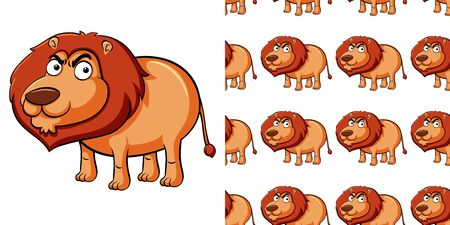 Seamless background design with wild lion illustration