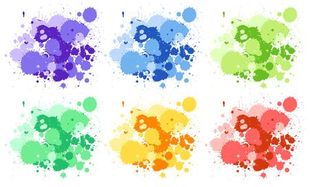Set of watercolor splashes in six colors illustration