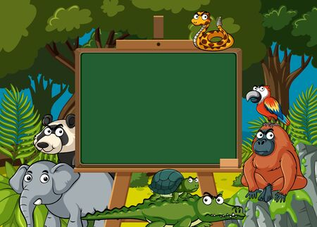 Board template with wild animals in the forest background illustration