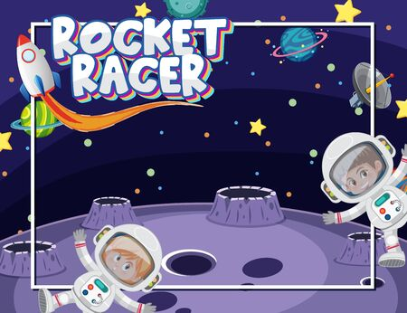 Background template with astronauts and many planets in space illustration Illustration