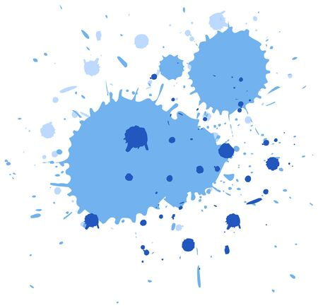 Aquarellspritzen in Blau auf weißer Hintergrundillustration
