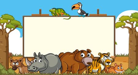 Frame template with many wild animals in background illustration