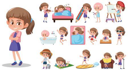 Ensemble de personnage enfant avec différentes expressions sur fond blanc illustration Vecteurs