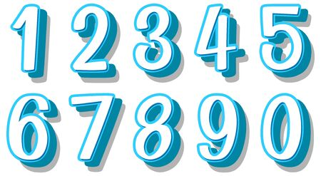 Font design for numbers one to zero on white background illustration