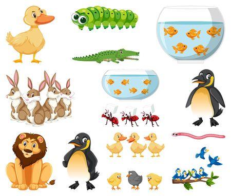 Set of different types of animals on white background illustration Archivio Fotografico - 143059207