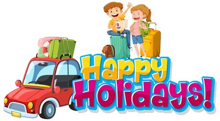 Font design template for word happy holidays with people on road trip illustration Ilustracja