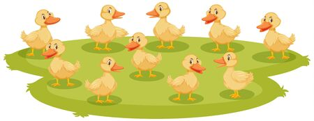 Lotd of baby ducklings on the ground illustration