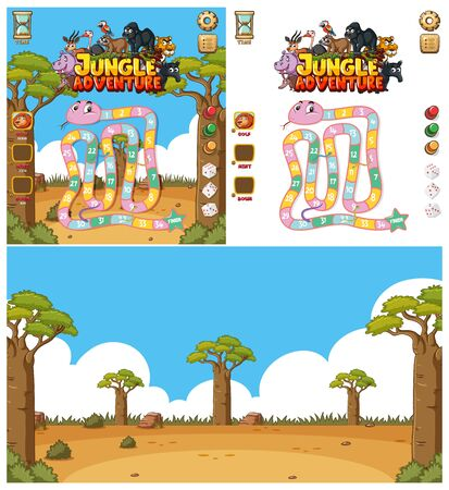 Background design for computer game with animals in the field illustration